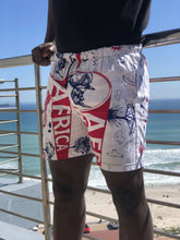 Pink and white africa print mens shorts