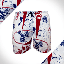 Pink and white africa print mens beach shorts