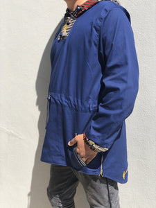 Blue Windbreaker with african design