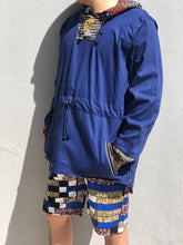 Blue Windbreaker with african fabric