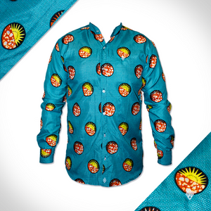 Turquoise africa print shirt collared