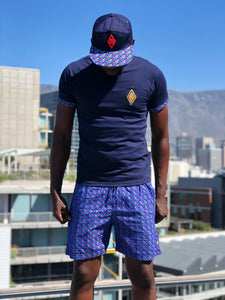 Royal Blue Shweshwe swim shorts t shirt peak cap