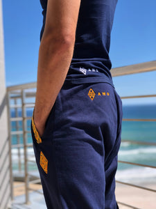 Sun Weave Joggers_Navy Fleece & Shweshwe