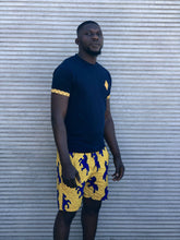 yellow shweshwe and navy t shirt with yellow wax print swim shorts