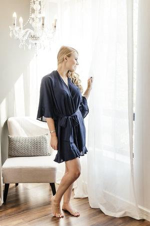 The Ruffled Robe - Navy
