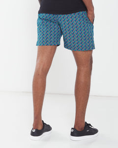 Africa_Made_Only_Green_Shweshwe_black_T_shirt_casual_shorts_
