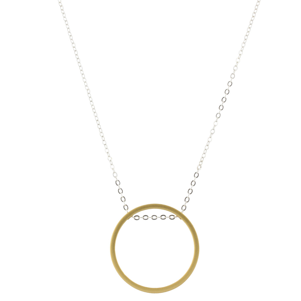 Piper Necklace - Silver Chain with Gold Circle