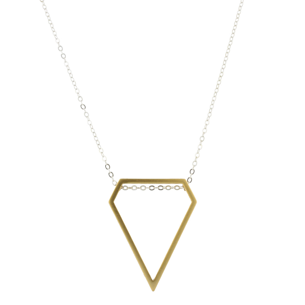 Piper Necklace - Silver Chain with Gold Diamond