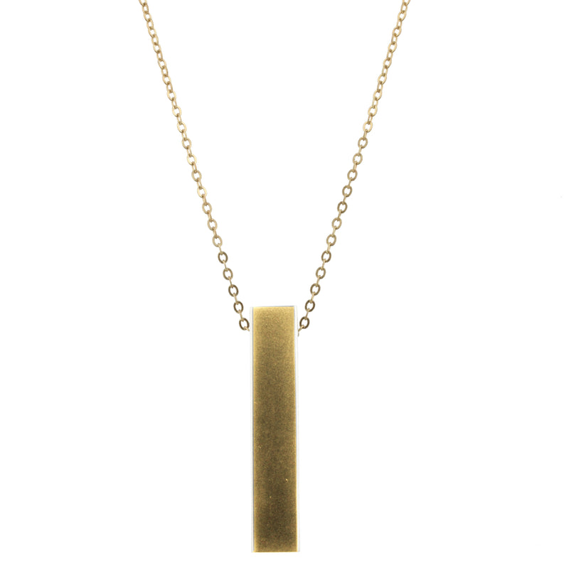Piper Necklace - Gold Chain with 3D Gold Rectangle