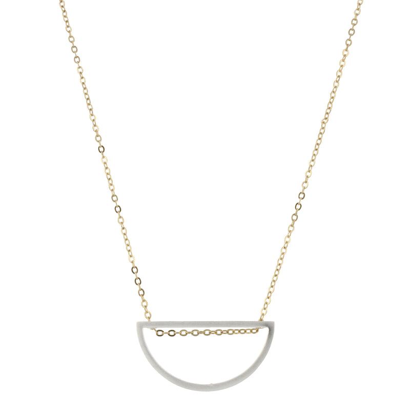 Piper Necklace - Gold Chain with Silver Half Circle