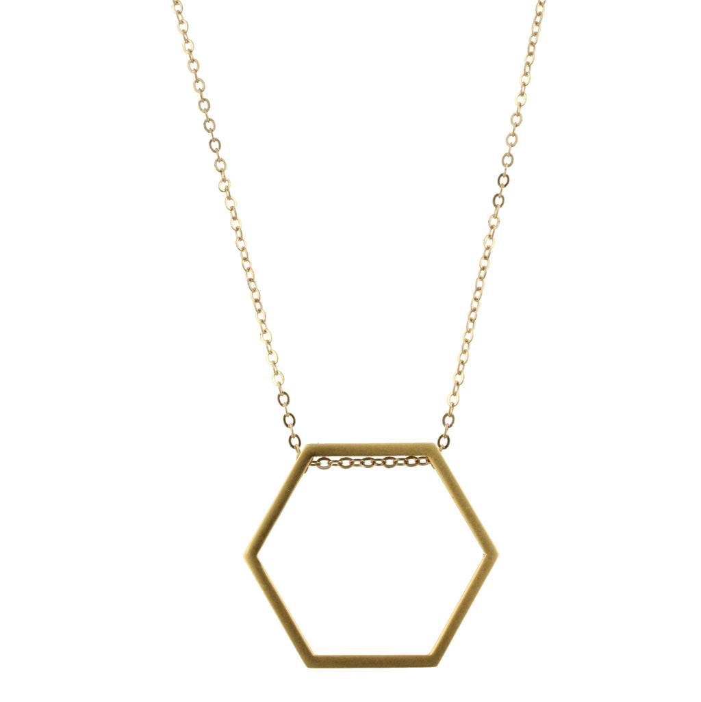Piper Necklace - Gold Chain with Gold Hexagon