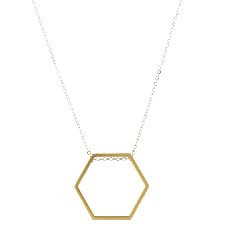 Piper Necklace - Silver Chain with Gold Hexagon