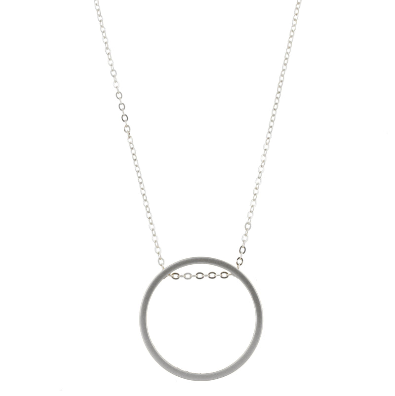 Piper Necklace - Silver Chain with Silver Circle