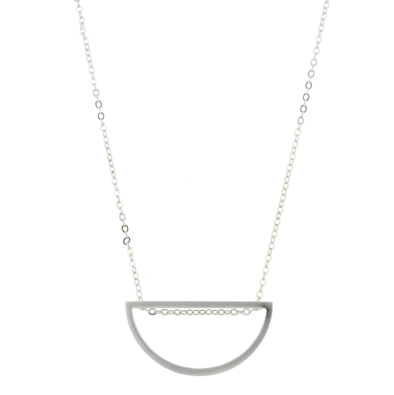 Piper Necklace - Silver Chain with Silver Half Circle