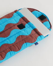 "Puffy Laptop Sleeve 13"" - Teal and Brown"