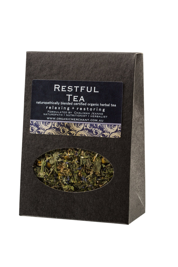 Organic herbal tea. Contains Chamomile, Lemon Balm, Passionflower, Lemon Verbena, Lavender.