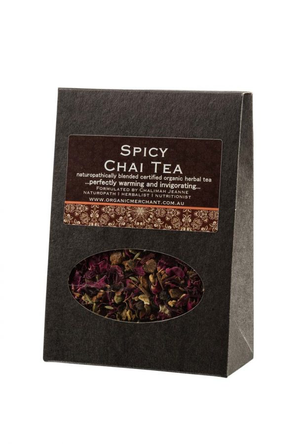 Organic herbal tea. Contains Fennel, Ginger, Cinnamon, Peppercorns, Cardamom, Star Anise, Orange Peel, Rosella, Rose Petals, Clove.