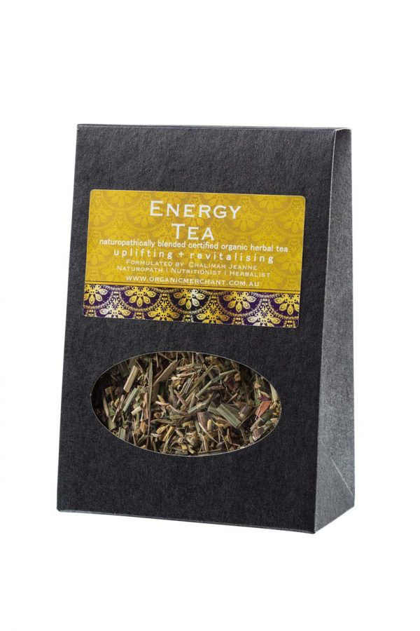 Herbal tea. Energy tea with Liquorice, lemongrass, ginseng, ginger, orange, hibiscus, cinnamon, gotu kola.