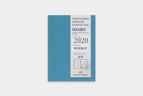 Traveler's Notebook Refill - 2020 Diary Weekly, Passport size - simplebeautifulthings