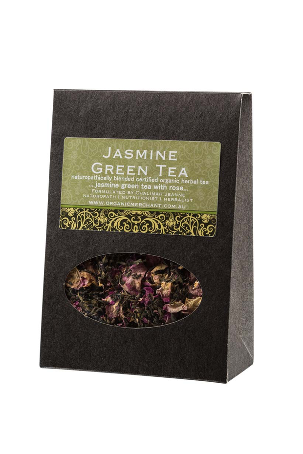Organic herbal tea. Jasmine green tea with rose by Organic merchant.