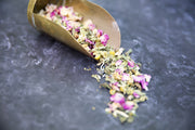Organic herbal tea. Peaceful tea contains Chamomile, Lemon Balm, Linden Flower, Pink Rose Petals, Lavender.