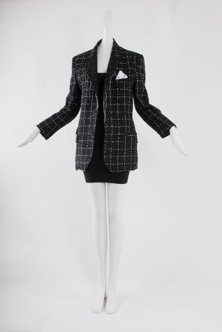 Benjamin List Tuxedo Jacket with White Square Embroidery
