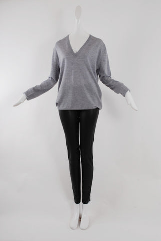 6397 Perfect V Sweater in Grey