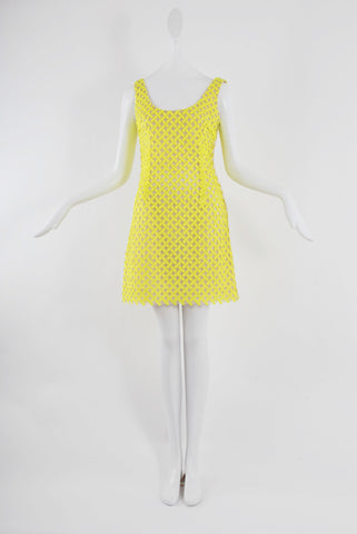 Isabel Toledo Fluorescent Yellow Cross Hatch Embroidered Tulle Mini Dress