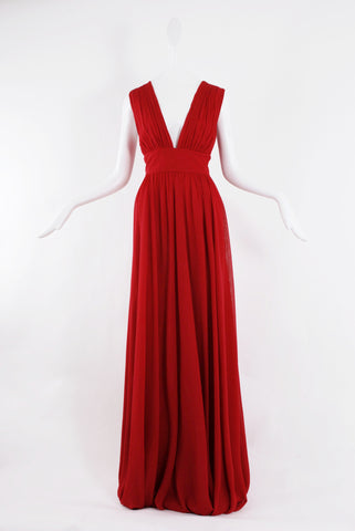 Dhela Gown in Crimson Red