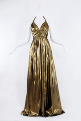 Dhela Halter Long Dress in Gold Lamé
