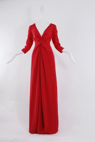 Dhela Gown with 3/4 sleeve in Crimson Red
