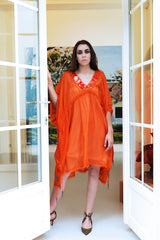 Octavio Pizarro Orange Tunic with Embroidery