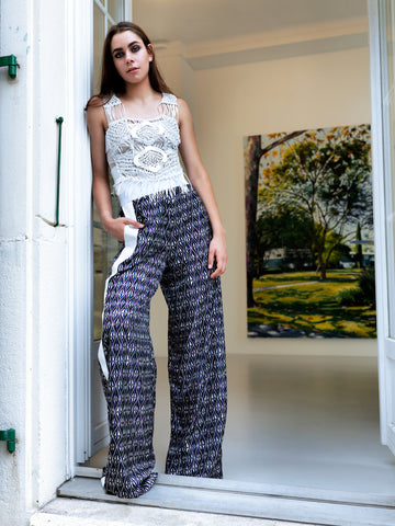 Octavio Pizarro High waist silk trousers