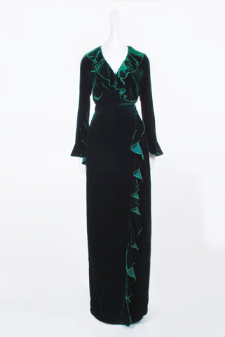 Dhela Velvet Gown with Sleeves in Green