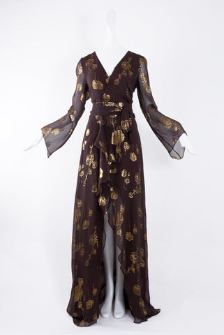Odysay Long Dress in Brown & Gold