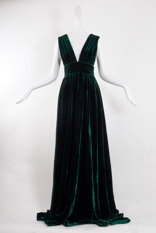Dhela Sleeveless Velvet Gown in Green