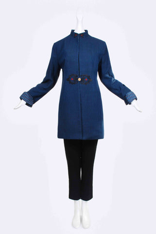 Zarif Long Jacket in Blue