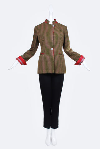 Zarif Striped Jacket in Olive and Red