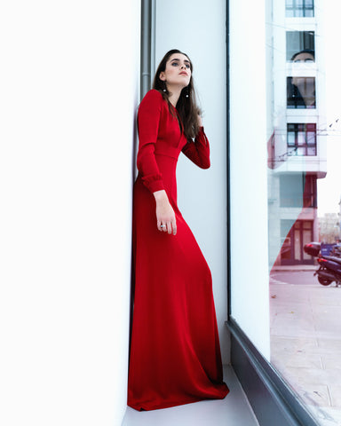 Dhela Long Sleeve Long Dress in Red Georgette