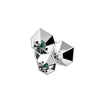 AENKO Brooch White Titanium with White Sapphires & Pair of Emerald