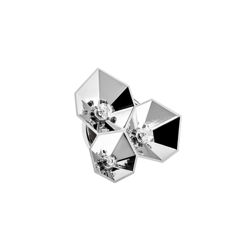 AENKO Brooch White Titanium with White Sapphires