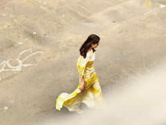 Octavio Pizarro Asymmetric Yellow Dress
