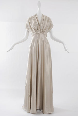 Isabel Toledo Floor Length Lamé Gown Liquid Gold