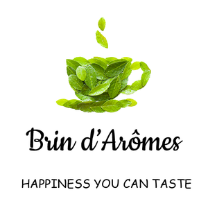 Brin d'Arômes green leaf tea cup logo and tagline happiness you can taste