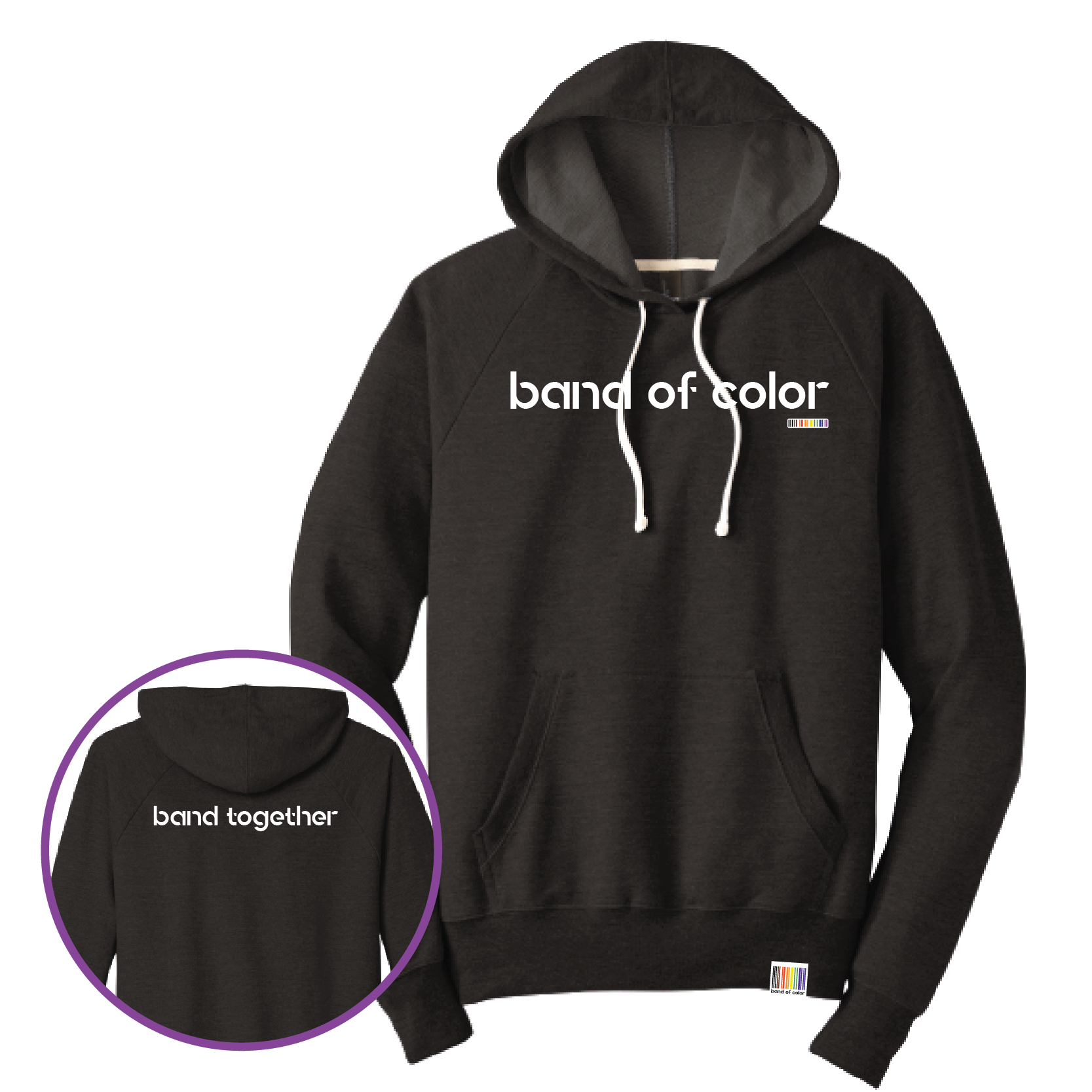 band of color pullover triblend French terry hoodie