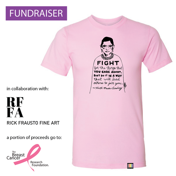 Ruth Bader Ginsburg - artist collaboration, breast cancer awareness pink unisex tee