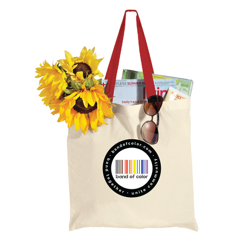 band of color shopper tote - accent handles