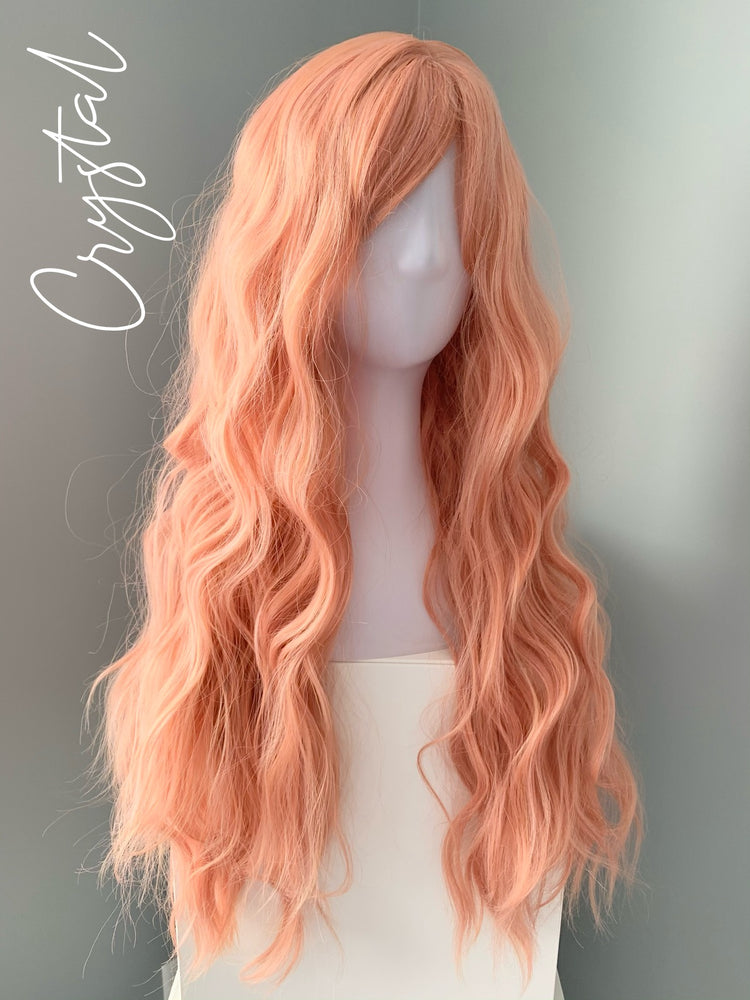 """Crystal"" - Long Coral Peach Synthetic Wig"
