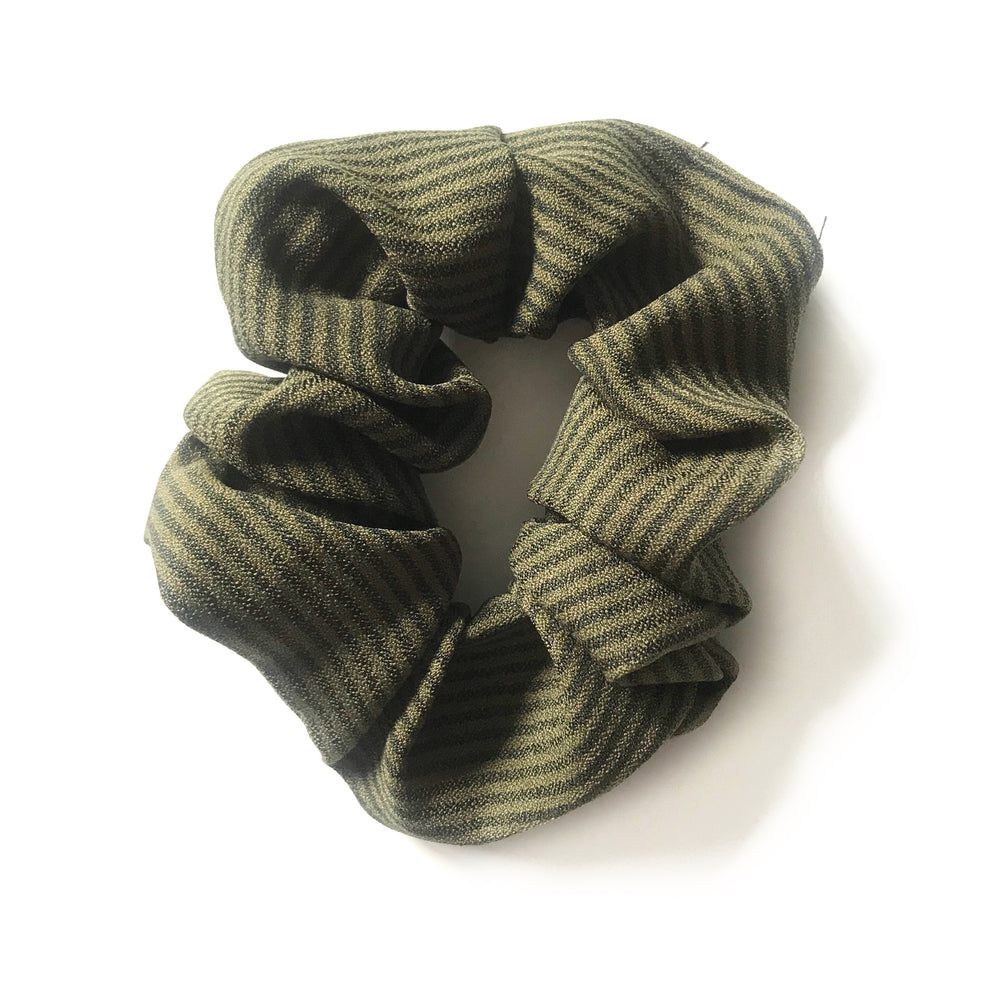 Green Striped - Linen Scrunchie