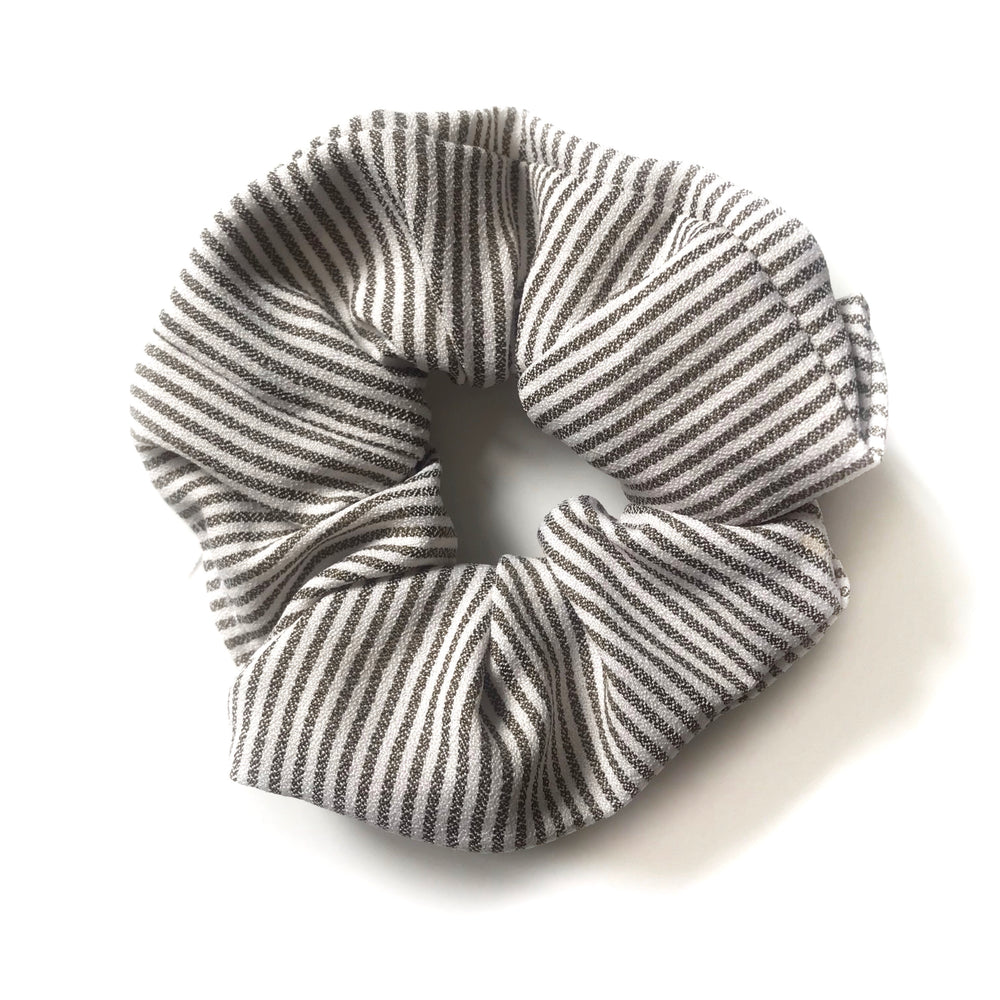 Khaki Green Striped - Linen Scrunchie
